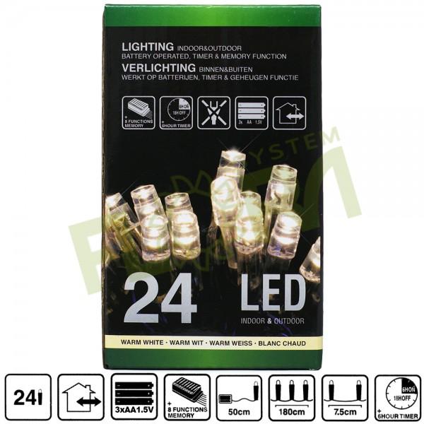 24 LED verlichting warm wit op batterijen – voor binnen & buiten ...